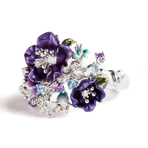 925 SILVER RING WITH PURPLE FLOWERS, BLUE TOPAZ AND CRYSTALS