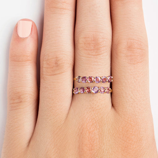 14K YELLOW  RING WITH PINK SAPPHIRES