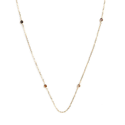 14K GOLD NECKLACE WITH TOPAZ AND COLORED SAPPHIRES