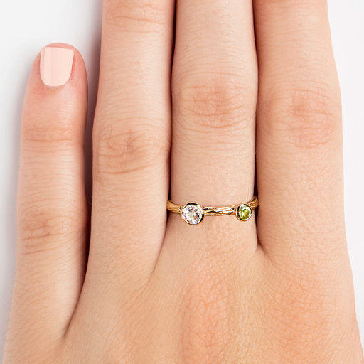 925 SILVER GOLD PLATED RING WITH PERIDOT AND WHITE TOPAZ