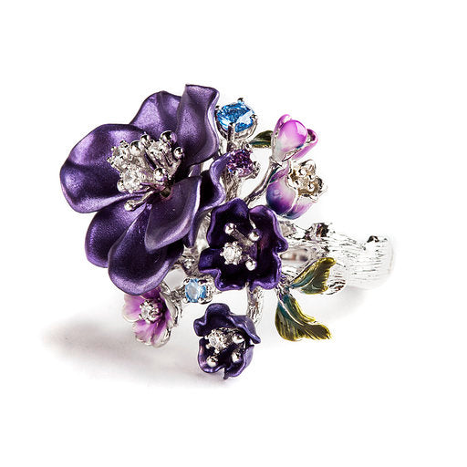 925 SILVER PURPLE FLOWER RING WITH BLUE TOPAZ AND CRYSTALS