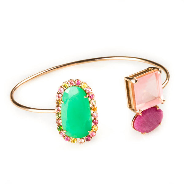14K YELLOW GOLD BANGLE WITH ROSE QUARTZ AND TOURMALINES