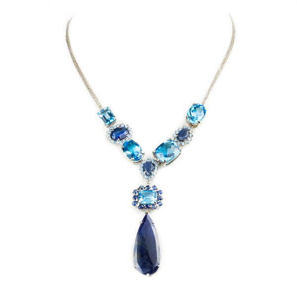 14K WHITE GOLD NECKLACE WITH BLUE SAPPHIRE AND BLUE TOPAZ