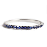14K WHITE GOLD SEMI INFINITY RING WITH BLUE SAPPHIRES