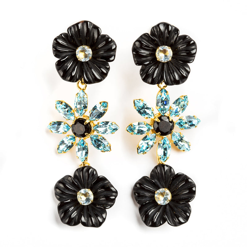 925 GOLD PLATED SILVER SET FLOWER EARRING WITH BLACK ONYX AND BLUE QUARTZ