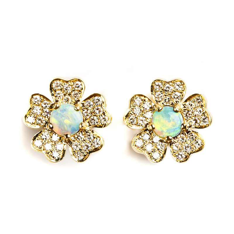 14K YELLOW GOLD FLOWER EARRING WITH OPAL AND DIAMOND