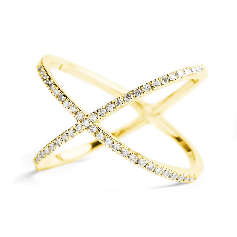 14K YELLOW GOLD X RING WITH DIAMONDS