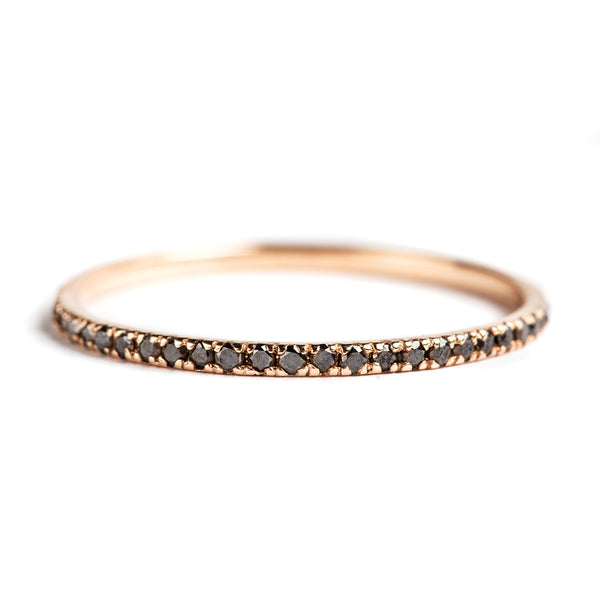 14K ROSE GOLD SEMI INFINITY RING WITH BLACK DIAMONDS