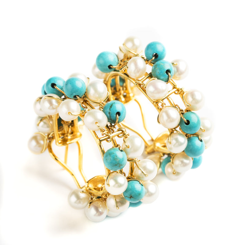 GOLD PLATED SILVER HOOP EARRINGS SET WITH PEARLS AND TURQUOISE
