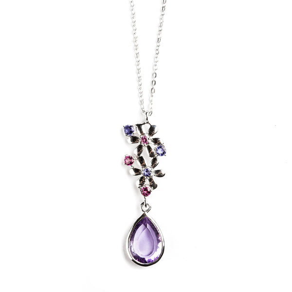 925 SILVER FLOWER PENDANT WITH AMETHYST, RHODOLITE AND IOLITE