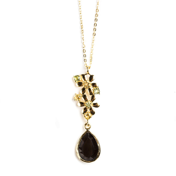 925 SILVER GOLD PLATED FLOWER DROP PENDANT WITH CITRINE, SMOKEY QUARTZ AND PERIDOT