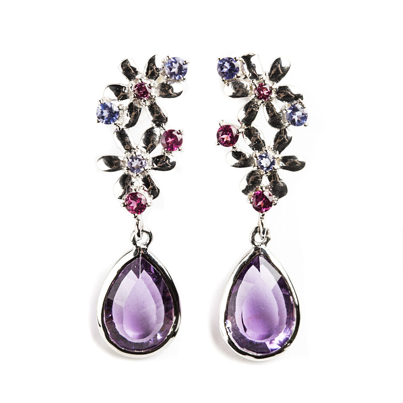 925 SILVER FLOWER EARRINGS WITH AMETHYST AND IOLITE