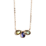 925 SILVER ROSE GOLD PLATED NECKLACE WITH LABRADORITE AND IOLITE