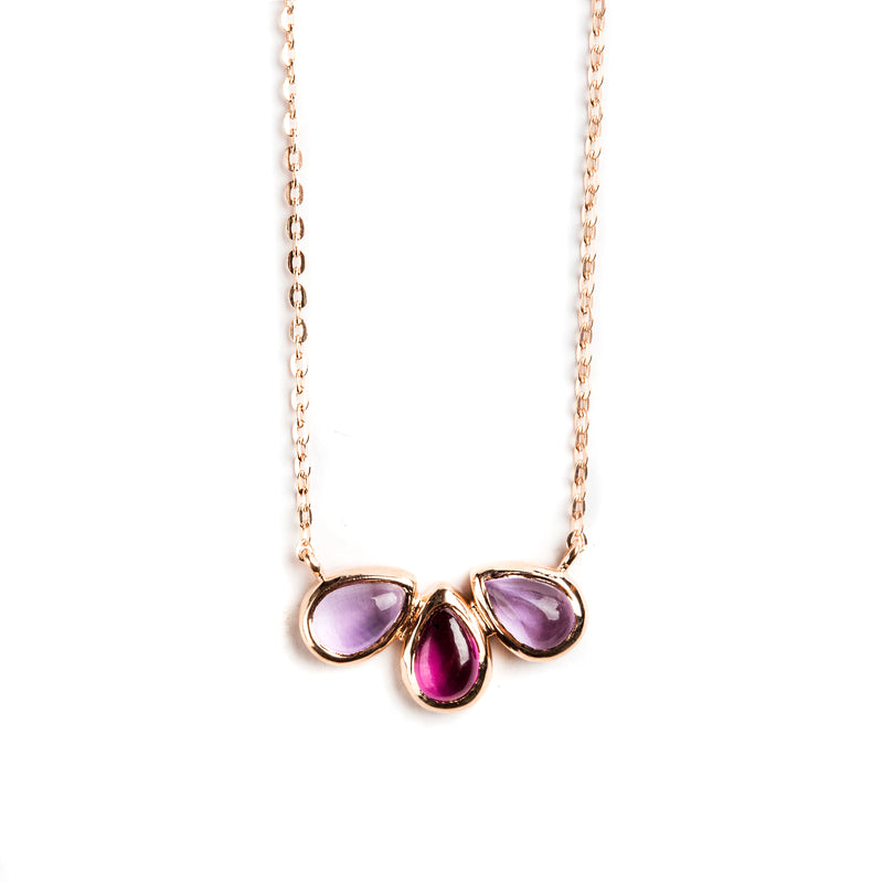 925 SILVER ROSE GOLD PLATED NECKLACE WITH AFRICAN AMETHYST AND BRAZILIAN AMETHYST