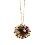 925 SILVER GOLD PLATED PENDANT WITH CITRINE, RHODOLITE AND SMOKEY QUARTZ