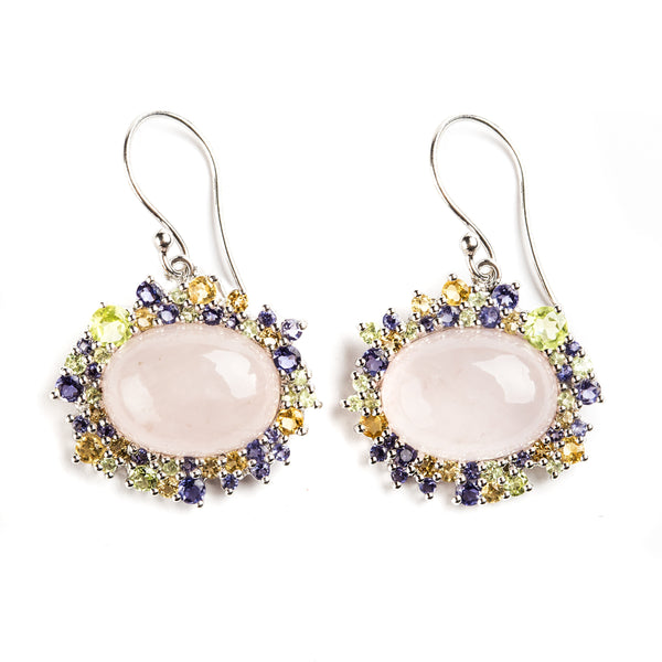 925 SILVER EARRINGS WITH ROSE QUARTZ, CITRINE AND IOLITE