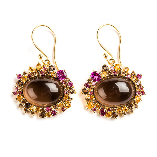 925 SILVER GOLD PLATED EARRINGS WITH CITRINE AND RHODOLITE GARNET