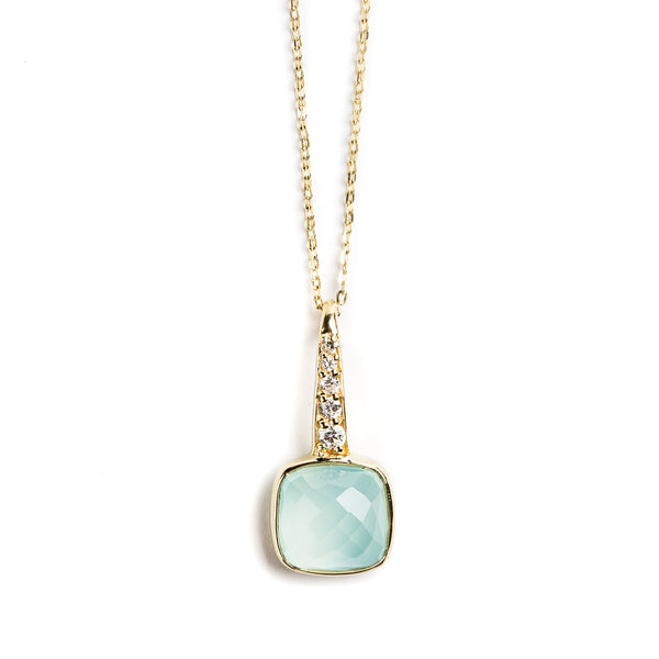 925 SILVER GOLD PLATED PENDANT WITH AQUA CHALCEDONY AND ZIRCONIA