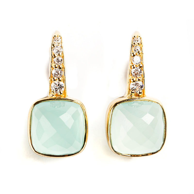 925 SILVER GOLD PLATED EARRINGS WITH CHALCEDONY