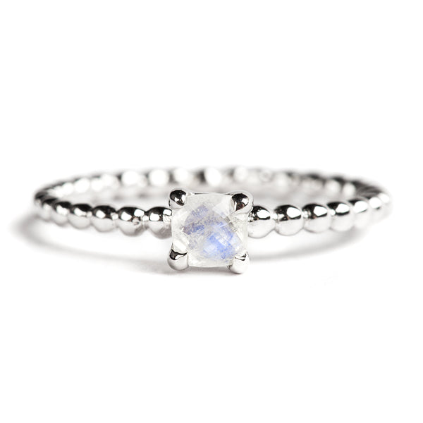 925 SILVER CUSHION RING WITH RAINBOW MOONSTONE