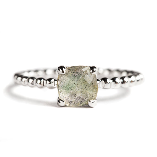 925 SILVER CUSHION RING WITH LABRODOLITE