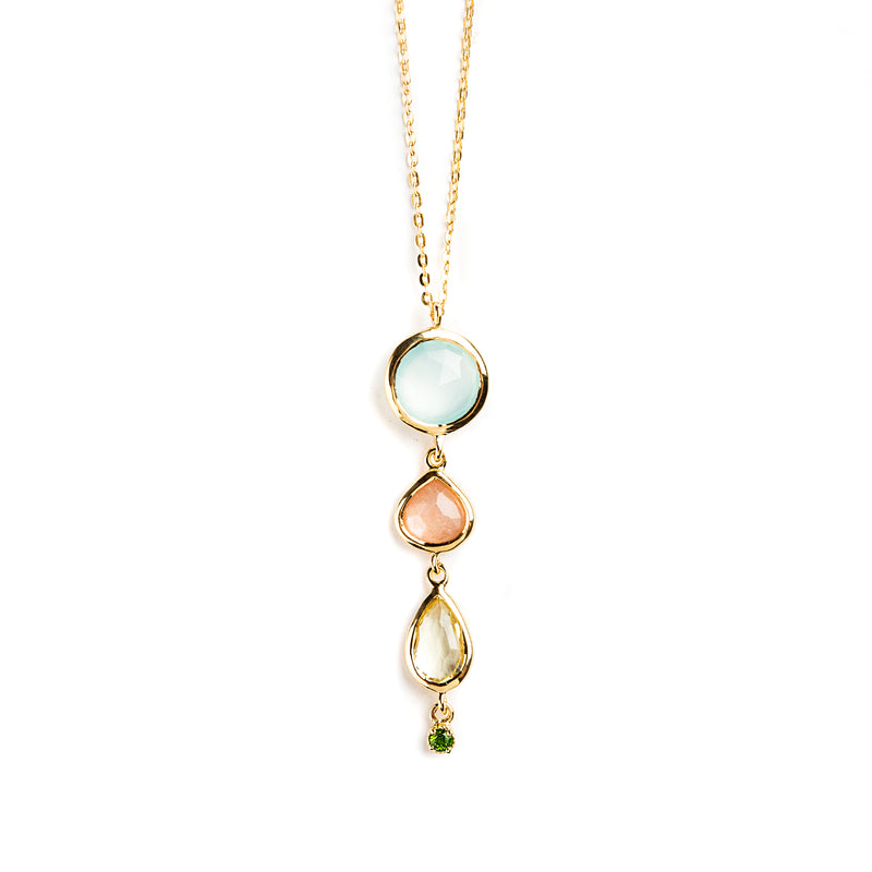 925 SILVER GOLD PLATED PENDANT WITH CHALCEDONY, LEMON QUARTZ, MOONSTONE PEACH AND PERIDOT