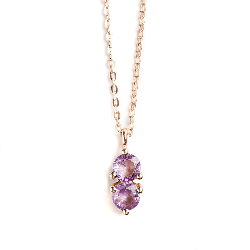 925 SILVER ROSE GOLD PLATED PENDANT WITH BRAZILIAN AMETHYST