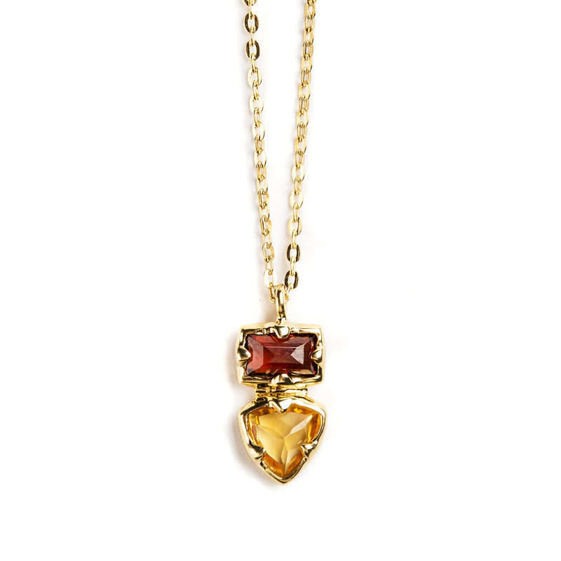 925 SILVER GOLD PLATED PENDANT WITH GARNET AND CITRINE