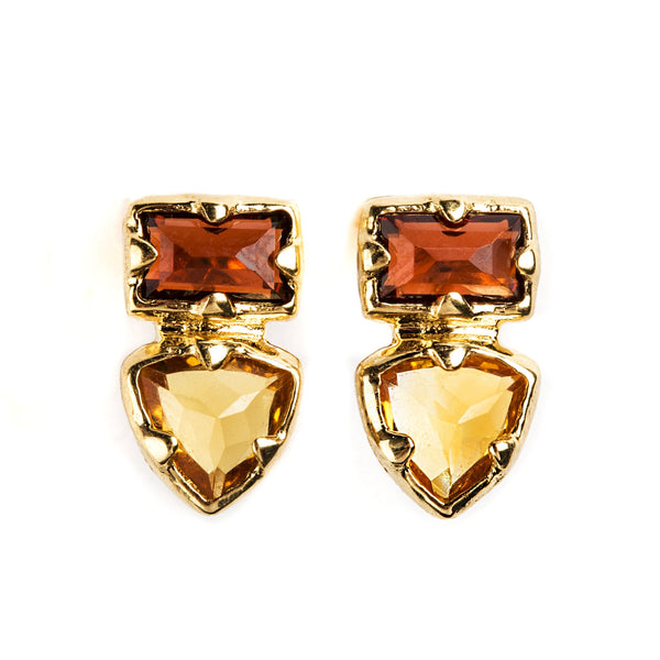 925 SILVER GOLD PLATED EARRINGS WITH GARNET AND CITRINE