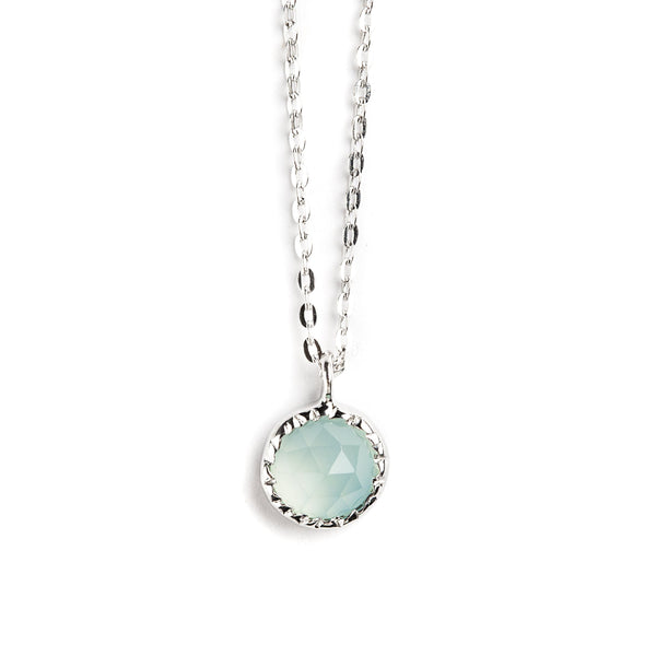 925 SILVER ROUND PENDANT WITH BLUE CHALCEDONY