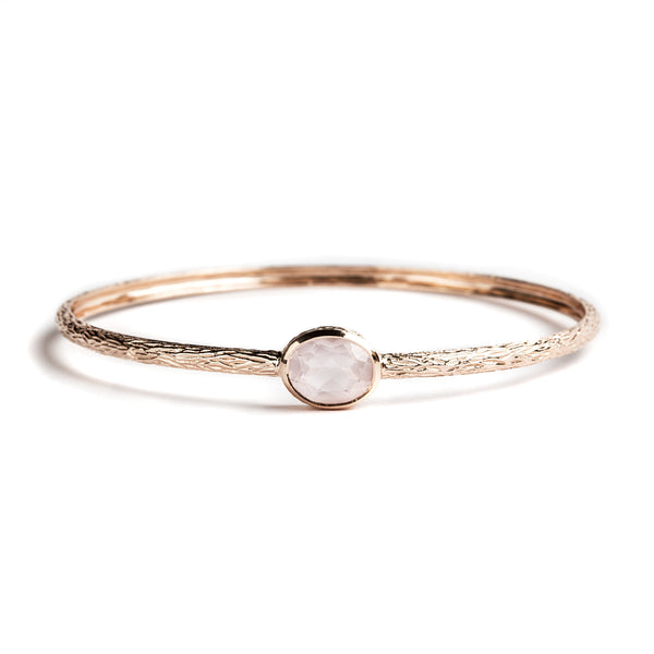 925 SILVER ROSE GOLD PLATED BANGLE WITH ROSE QUARTZ