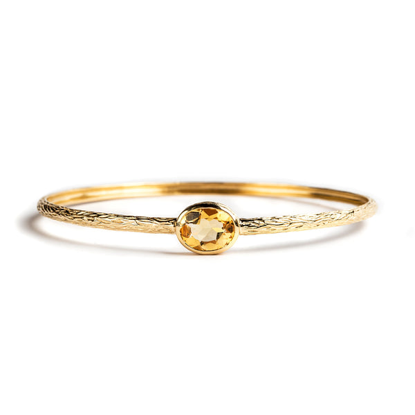 925 SILVER GOLD PLATED BANGLE WITH CITRINE