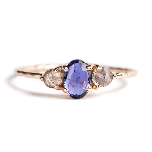 925 ROSE GOLD SILVER PLATED RING WITH LABRODOLITE AND IOLITE