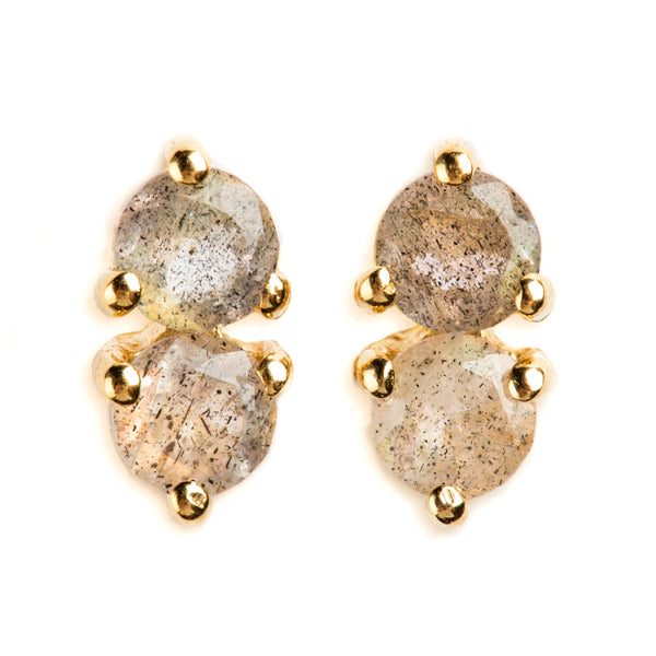 925 SILVER GOLD PLATED EARRINGS WITH LABRODOLITE