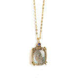 925 SILVER GOLD PLATED PENDANT WITH LABRODOLITE AND IOLITE.