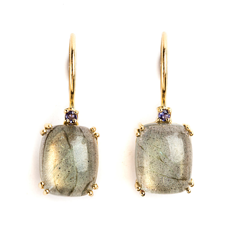 925 SILVER GOLD PLATED EARRINGS WITH LABRODOLITE AND IOLITE