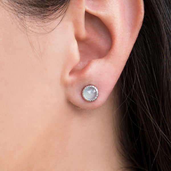 925 SILVER EARRING WITH AQUA CHALCEDONY