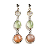 925 SILVER EARRINGS WITH LABRODORITE AND MOONSTONE PEACH