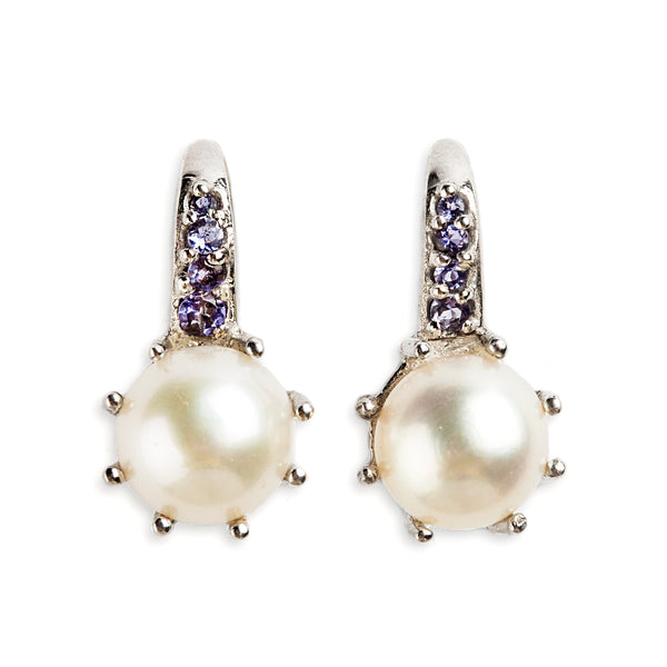 925 SILVER EARRINGS WITH WHITE PEARL AND IOLITE
