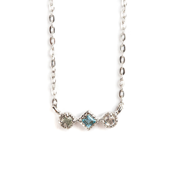 925 SILVER NECKLACE WITH RAINBOW MOONSTONE AND BLUE TOPAZ
