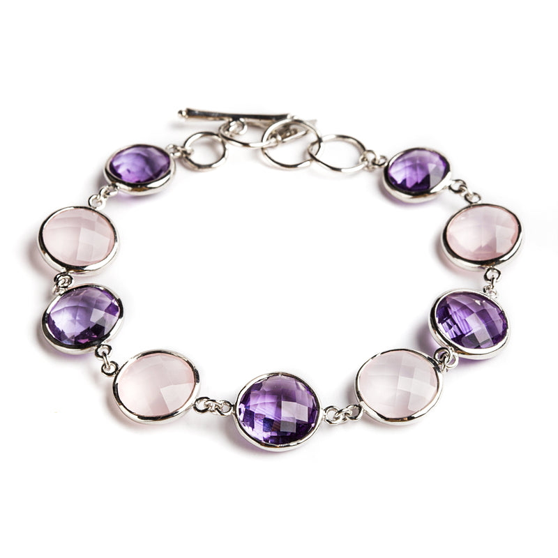 925 SILVER ROUND BRACELET WITH BRAZILIAN AMETHYST AND ROSE QUARTZ