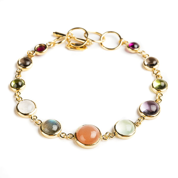 925 SILVER GOLD PLATED ROUND BRACELET WITH BRAZILIAN AMETHYST AND LABRODOLITE