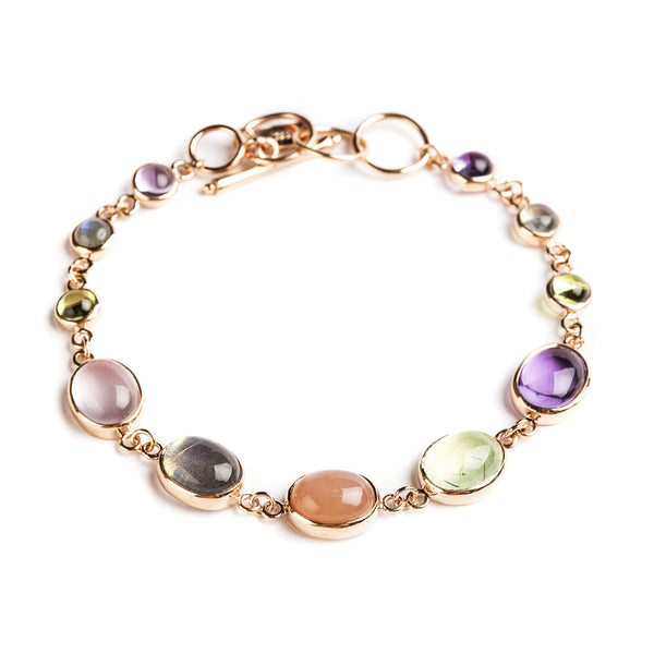 925 SILVER GOLD PLATED BRACELET WITH BRAZILIAN AMETHYST AND LABRODOLITE