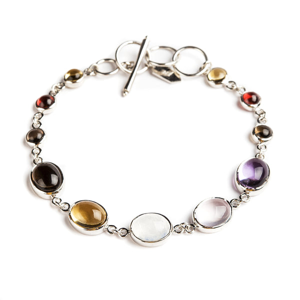 925 SILVER OVAL BRACELET WITH BRAZILIAN AMETHYST AND CITRINE