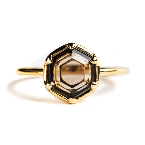 925 SILVER GOLD PLATED HEXAGONAL RING WITH SMOKY QUARTZ