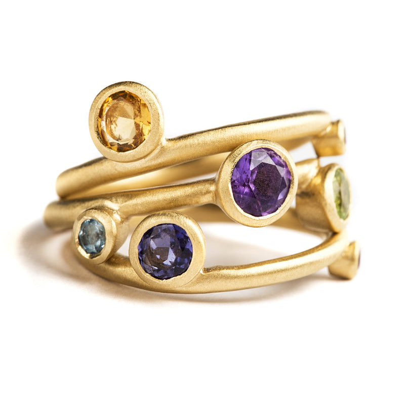 925 SILVER GOLD PLATED RING WITH BRAZILIAN AMETHYST, CITRINE, GARNET AND IOLITE