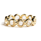 925 SILVER GOLD PLATED INFINITY RING WITH ROCK CRYSTAL QUARTZ