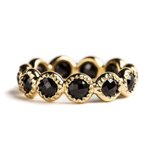 925 SILVER GOLD PLATED INFINITY RING WITH BLACK SPINEL