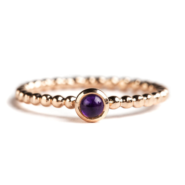925 SILVER GOLD PLATED RING WITH ROUND AFRICAN AMETHYST