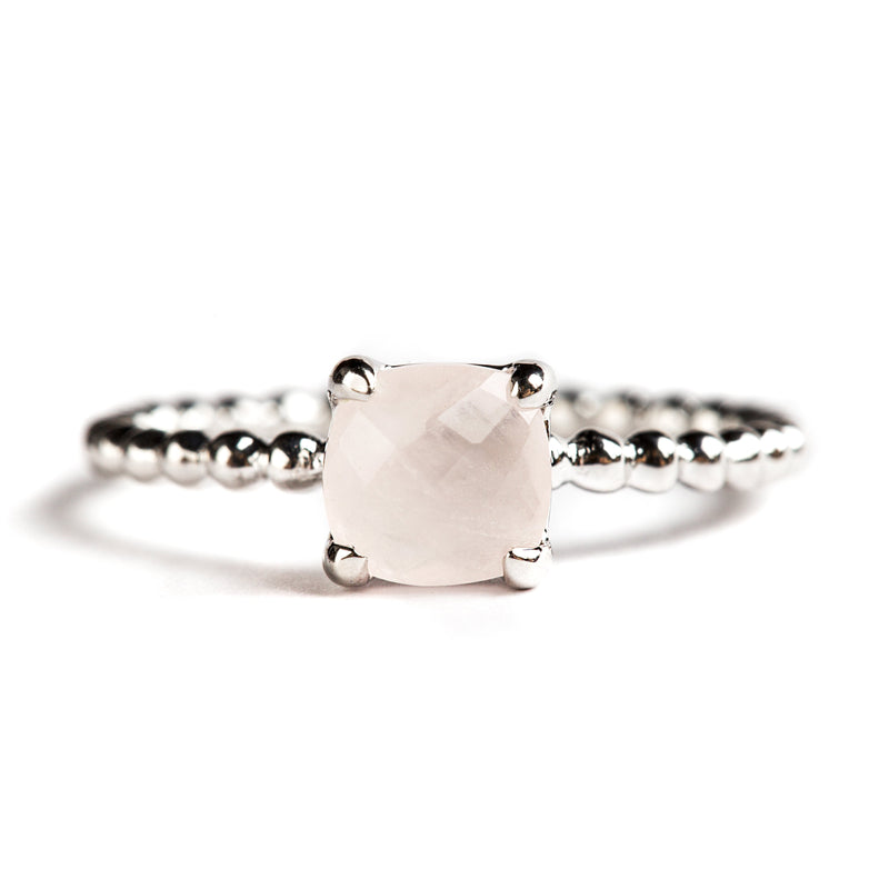 925 SILVER CUSHION RING WITH ROSE QUARTZ